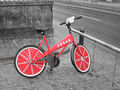 Selective colour - red Danish hire bike.jpg